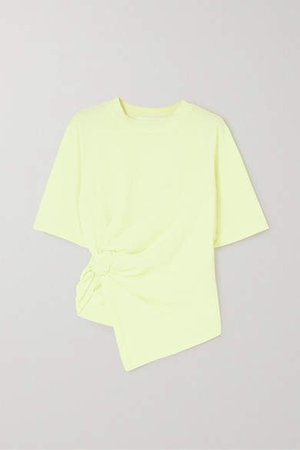 Knotted Cotton-jersey T-shirt - Pastel yellow