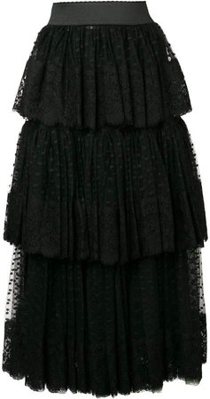 pleated layered tulle skirt