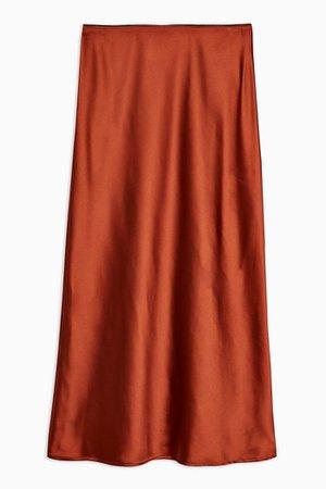 Rust Satin Bias Midi Skirt | Topshop