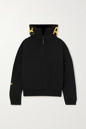 Embroidered Cotton-jersey Sweatshirt - Black