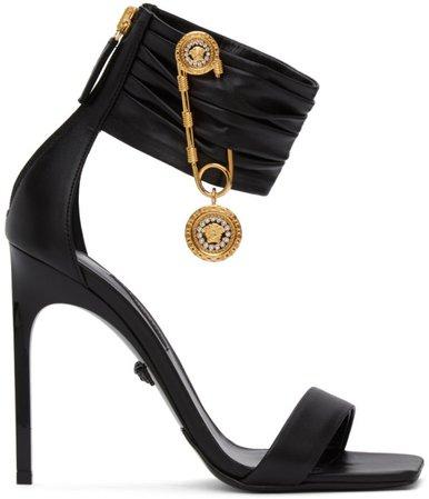 Black Medusa Brooch Heeled Sandals
