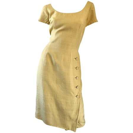 1950s Mr. Blackwell Current Size 10 / 12 Mustard Yellow Silk Vintage 50s Dress For Sale at 1stdibs
