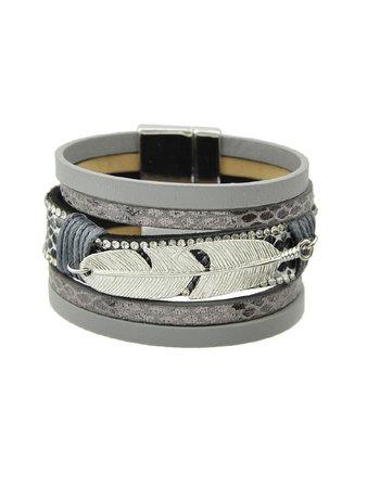 Gray Multilayer Blue Black Pu Leather Wrap Bracelets