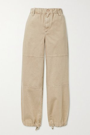 Cotton-blend Tapered Pants - Beige