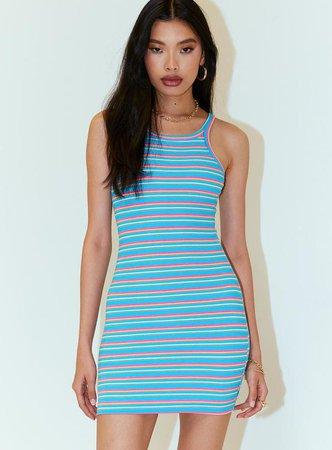 Reina Mini Dress Blue Stripe