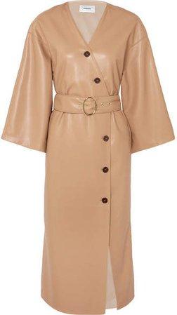 Iben Belted Vegan Leather Dress - Beige