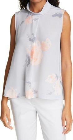 Watercolor Floral Sleeveless Silk Top