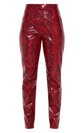 Red Snake Print Faux Leather Straight Leg Pants