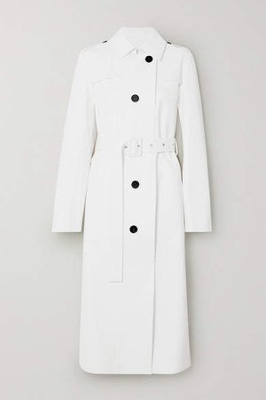 Leather Trench Coat - White