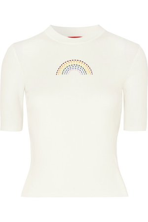 STAUD | Public embroidered ribbed cotton T-shirt | NET-A-PORTER.COM