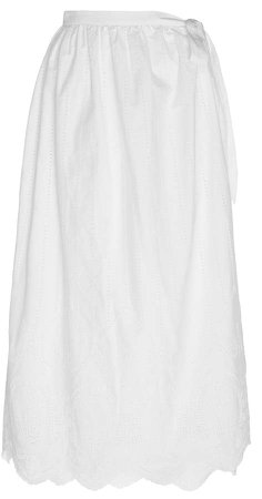 Delilah Scalloped Cotton-Poplin Wrap Skirt