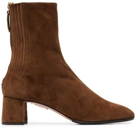 camel brown Saint Honore 50 suede ankle boots