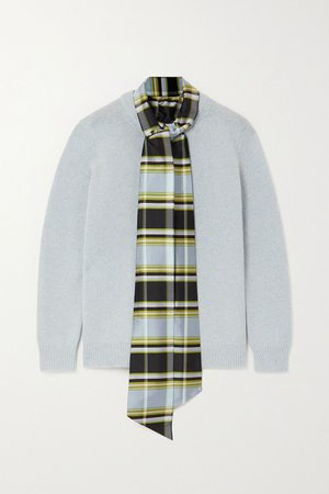 Gray Dickie tie-detailed silk dupioni-trimmed wool sweater | Tory Burch | NET-A-PORTER