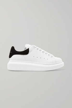 Alexander McQueen | Suede-trimmed leather exaggerated-sole sneakers | NET-A-PORTER.COM