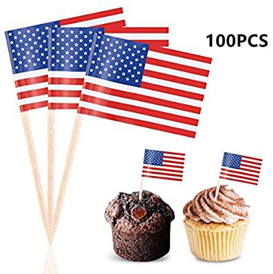 Efivs Arts 100 PCS American Flag toppers Toothpicks 4th of July Independence Day Thanksgiving Day Patriotic Cupcake Toppers Picks for army graduation Party Decorations Supplies: Amazon.com: Grocery & Gourmet Food