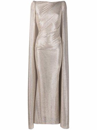 Talbot Runhof metallic-threaded Cape Dress - Farfetch