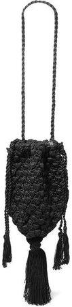 Nannacay - Marina Tasseled Crocheted Shoulder Bag - Black