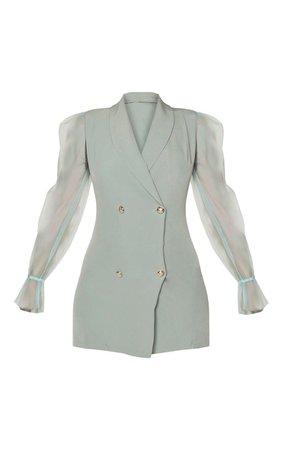 Sage Green Button Up Organza Sleeve Blazer Dress   PrettyLittleThing USA
