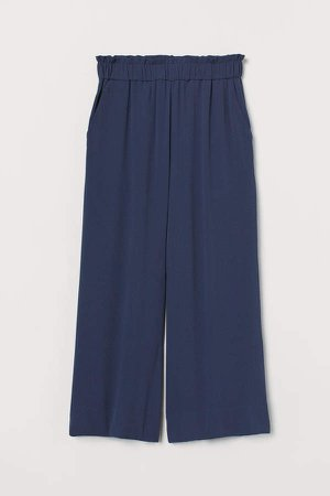 Cropped Pull-on Pants - Blue