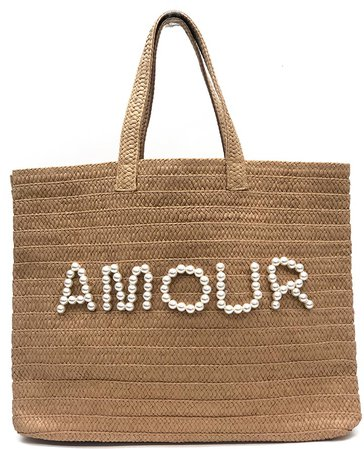 Btb Los Angeles Amour Beaded Straw Tote