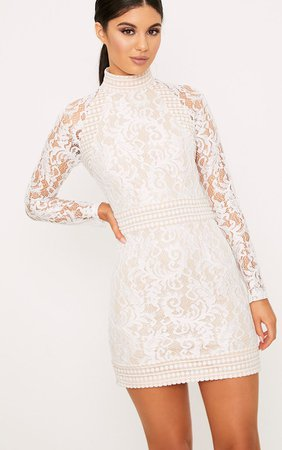 Isobel White Lace High Neck Bodycon Dress   PrettyLittleThing