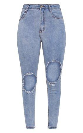 Light Wash Open Knee Rip 5 Pocket Skinny Jean | PrettyLittleThing