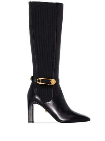 Versace 90mm knee-high Safety Pin Boots - Farfetch