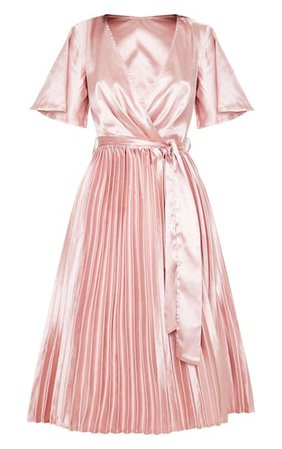 Mairee Dusty Pink Satin Pleated Midi Dress | PrettyLittleThing