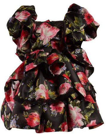 Floral Print Ruffled Silk Blend Mini Dress - Womens - Black Multi