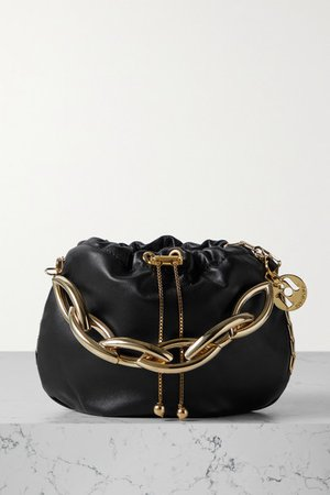 Bubble Small Chain-embellished Leather Tote - Black