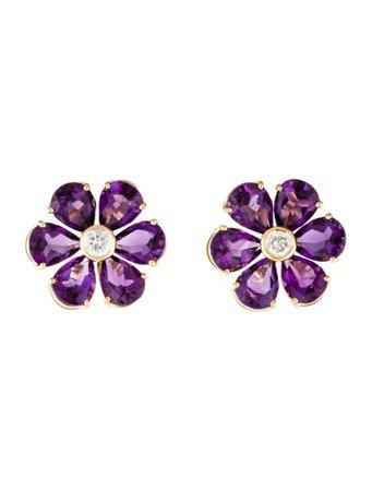 Earrings 18K Amethyst & Diamond Floral Earclips - Earrings - EARRI52332   The RealReal