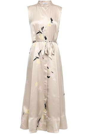 Neutral Clevete belted floral-print silk-satin midi dress | EQUIPMENT