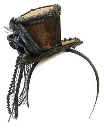 Amazon.com: Ladies Brown Velvet Ornate Steampunk Mini Top Hat Headband: Gateway