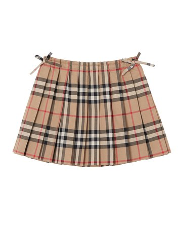 Burberry Mini Pearly Archive Check Pleated Skirt
