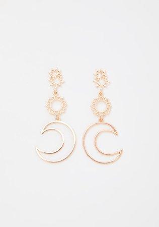 Gold Moon Sun Star Drop Earrings | Dolls Kill