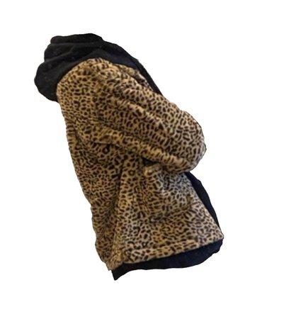 leopard coat black hoodie