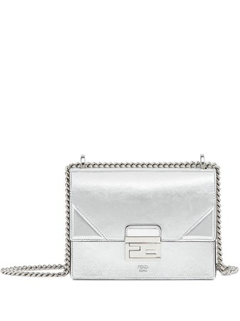 Silver Fendi Prints On Kan U Small Crossbody Bag | Farfetch.com