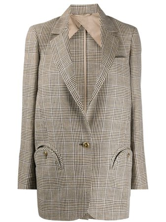 Blazé Milano Checked Oversized Blazer WBS02MM Neutral | Farfetch