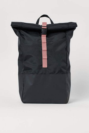 Roll-top Backpack - Black