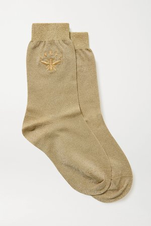 Gold Embroidered metallic stretch-knit socks | Maria La Rosa | NET-A-PORTER