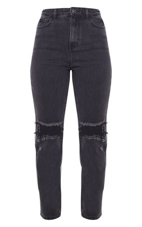 PRETTYLITTLETHING Washed Black Knee Rip Straight Leg Jean - New In | PrettyLittleThing