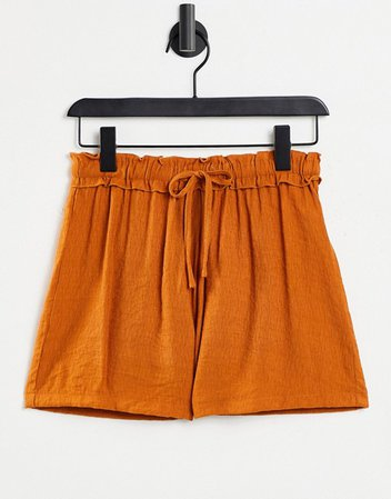 Missguided paperbag shorts with drawstring waist in rust | ASOS