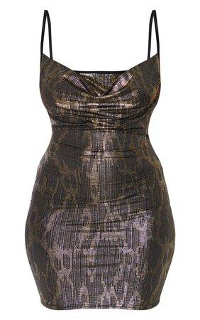Multi Glitter Cowl Neck Strappy Bodycon Dress   PrettyLittleThing USA