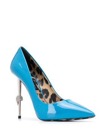 Shop Philipp Plein Skull 110mm leather pumps with Express Delivery - FARFETCH