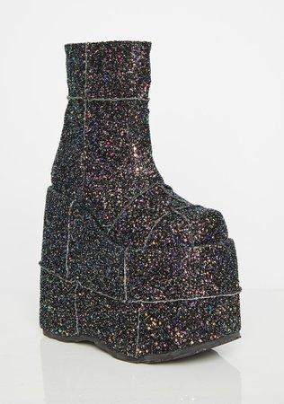 Demonia Galaxy Soul Stomper Stack Boots   Dolls Kill