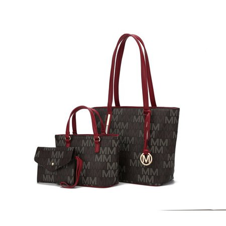 brown MKF Collection 3PC Aylet M Tote with Mini Bag and Wristlet Pouch by Mia K - Walmart.com - Walmart.com