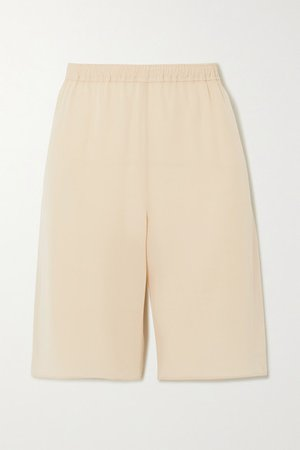 Silk-crepe Shorts - Beige