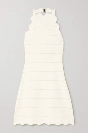 Scalloped Bandage Mini Dress - White