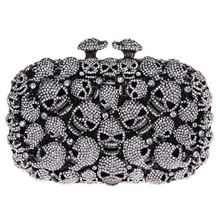 Fawziya® Skull Purses And Handbags For Women Kisslock Crystal Evening Clutch Bags-Black | shopswell