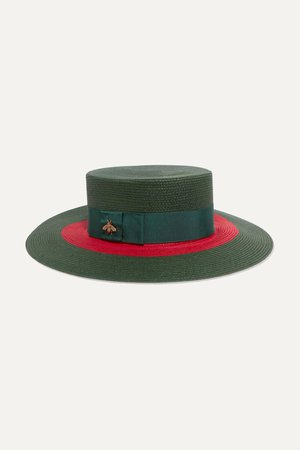 Green Embellished grosgrain-trimmed straw hat | Gucci | NET-A-PORTER